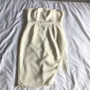 Inspire Ivory/ Off white Cocktail Dress,Lace slit